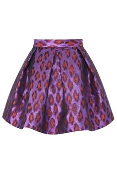 French Connection - DISCO LEOPARD FLARED SKIRT - Skirts - French Connection Usa - in purple red metallic