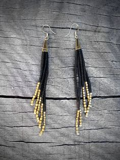 Black and Gold Earrings, Beaded Fringe, Native American Inspired Seed Bead Earrings, Sleek and Sexy - CUSTOMIZABLE COLORS AVAILABLE