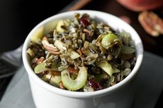Recipe for wild rice salad with apples, cranberries, and pecans. Perfect for a healthy fall lunch or supper side dish.