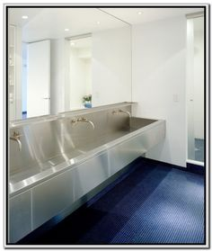 Bathroom Miraculous Stainless Commercial Trough Sink With White Ceramic Wall Panels As Well As