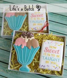 """251 Likes, 12 Comments - Nicole Cleghorn (@lifesabatch) on Instagram: """"Teacher Cookies available! (Regular flavor only.) These 2-pc. boxes gift sets are $10/each, and I…"""""""