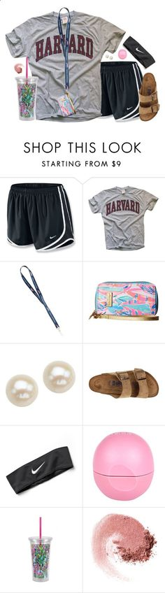 Casual school outfit by aweaver-2 on Polyvore featuring NIKE, Lilly Pulitzer, Honora, Birkenstock, River Island and NARS Cosmetics