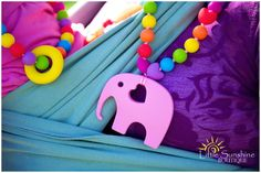 Pink Rainbow Elephant Silicone Baby Carrier Accessory ~ Little Sunshine Boutique ~ Teething Necklaces, Carrier Accessories, & Child Necklace