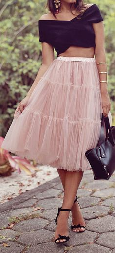 Blush Tulle + Bow Heels