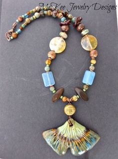 #Leaf necklace. Ceramic, gemstone and copper necklace jewelry