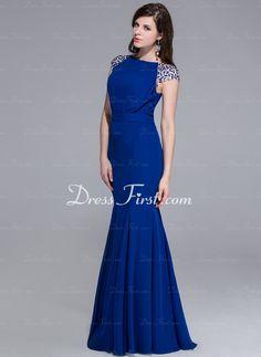 Sereia Decote redondo Chá comprimento chiffon Charmeuse Vestido de festa com Beading (017025435) - DressFirst