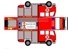 Print out the fire truck, cut it around, put it out of the tears . Paper Model Car, Paper Car, Paper Models, Paper Toys, Fireman Party, Firefighter Birthday, Wiking Autos, Happy Anniversary Cakes, Bedroom Crafts