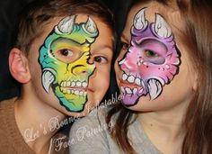 Dinosaurs Face Painting By Let's Bounce Inflatables Using Kryvaline face paints