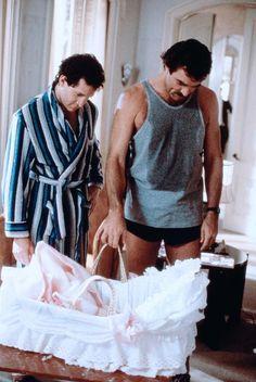 Peter Mitchell (Tom Selleck), Michael Kellam (Steve Guttenberg) ~ Three Men and a Baby (1987) ~ Movie Stills ~ #threemenandababy #80smovies #moviestills #comedies #80scomedies