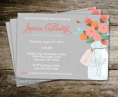 Mason Jar Shower Invitation Vintage Shabby Chic French Country Southern Floral Coral Baby Bridal Wedding Digital Printable