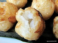 Glutinous rice balls with macapuno filling
