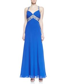 a5d206d21fe Beaded Halter Open-Back Gown