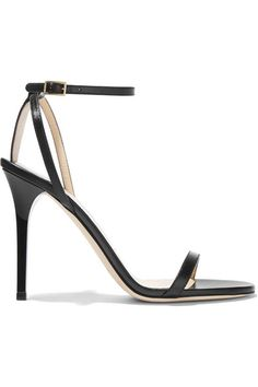Heel measures approximately 100mm/ 4 inches Black leather Buckle-fastening ankle strap Made in ItalySmall to size. See Size & Fit notes.