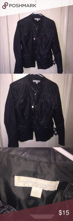 Black leather jacket Cute jacket in good condition. New York & Company Jackets & Coats