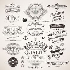 Calligraphic Design Elements Flowers And Retro Frames Premium Quality Satisfaction Guarantee Vintage Labels Set Old Style Vector Collection