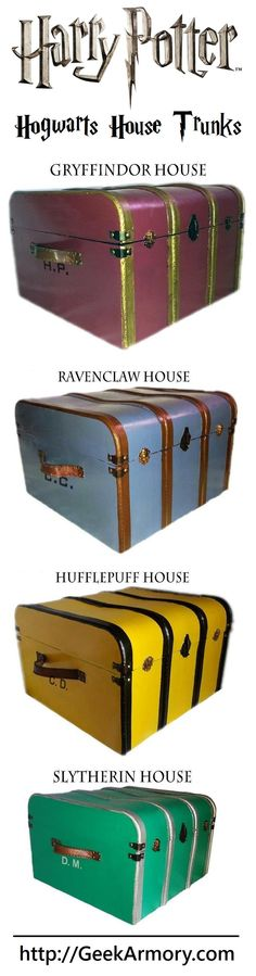 Hogwarts House Trunks - Customized with your initials -  http://geekarmory.com/hogwarts-house-trunks-harry-potter/