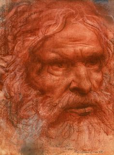 Abraham, by Pietro Annigoni, ca. Trois Crayons, Father Abraham, Italian Artist, Old Master, Gravure, Figure Drawing, Easy Drawings, Art History, Les Oeuvres