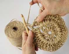 Have you noticed that natural jute decor is bang on trend right now? In this tutorial, you'll learn how to crochet the rounds and create a stunning contrast between the natural jute and metallic.natural jute twine rope cord non polished gift wrap pac Mode Crochet, Knit Crochet, Crochet Bags, Crochet Rope, Crochet With Hemp, Crochet Stitches, Crochet Patterns, Crochet Jacket Pattern, Crochet Designs