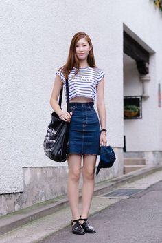 crop t-shirt with denim skirt  korea style, korean fashion