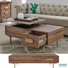Lift-Top Storage Coffee Table in Walnut Finish & Gold Walnut Coffee Table, Coffee Table With Storage, Wood Furniture, Modern Furniture, Ergonomic Office Chair, Walnut Finish, Mid Century Furniture, Light Decorations, Midcentury Modern
