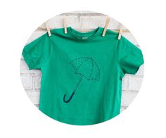 Spring Showers Umbrella Tshirt In Kelly Green by CausticThreads http://etsy.me/1qCqqJm via @Etsy #aprilshowers #spring #kidsclothes