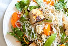 Thai tofu salad with peanut dressing.  Add some salted cashews to give it a crunch