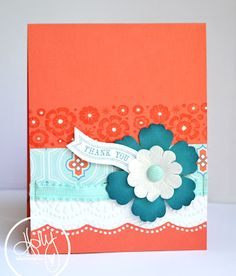 handmade card from Create Something Everyday ... bright card ... tip: use designer paper to help select colors and to coordinate ... Calypso Coral, Bermuda Bay, Pool Party with white as the neutral .,. luv the tone on tone stamped band in orange with white gel pen dots ... Stampin' Up!