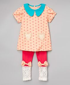 Look at this #zulilyfind! Pink Collar Shift Dress & Bow Leggings - Toddler…