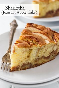 Russian sharlotka is a simple to make apple cake recipe that is made up of a light sponge cake filled with small apple pieces. Russian Cakes, Russian Desserts, Russian Recipes, Russian Apple Cake Recipe, Russian Foods, Russian Pastries, Hungarian Recipes, Apple Cake Recipes, Easy Cake Recipes