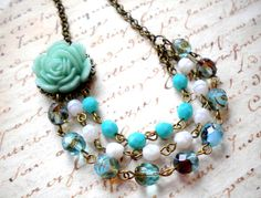 Bib Necklace Turquoise Necklace Flower Necklace di elinacreations