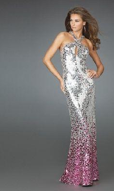 full length fuschia jersey prom dress