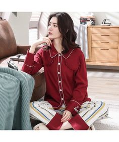 Long sleeved cotton casual wear outfit set for women Cotton Sleepwear 69872f749