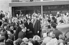Ann Downey (centre, left), mother of 10 year-old murder victim Lesley Ann Downey, at her daughter's funeral, 3rd November 1965. Downey was murdered on 26th December 1964, by Moors murderers Ian Brady and Myra Hindley.