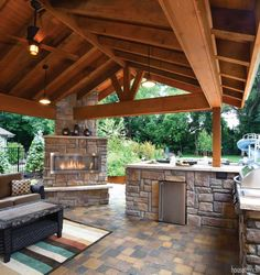 The house around the corner creates an ultimate outdoor living area - Outdoor Spaces - Outdoor Kitchen Covered Outdoor Kitchens, Outdoor Bbq Kitchen, Backyard Kitchen, Outdoor Kitchen Design, Backyard Patio, Back Patio Kitchen Ideas, Rustic Outdoor Kitchens, Outdoor Living Areas, Outdoor Spaces