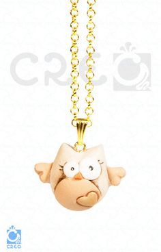 Collana il Gufo Innamorato oro   fimo, by Creo officina creativa, 9,00 € su misshobby.com