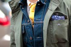 Denim jacket with a tie
