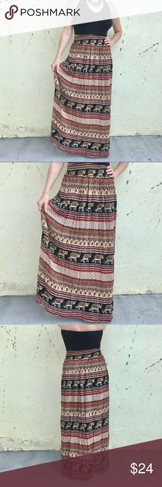 """BOHO ELEPHANT MAXI SKIRT black red print  long M/L New with tags! Extra long maxi skirt in a boho India ELEPHANT PRINT! Red Black and tan striped pattern with elastic waist that ranges from 13"""" to 20"""" flat across. 42"""" long. Festival ready! (0207) Skirts Maxi"""