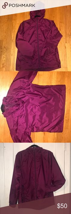 Large purple L.L. Bean rain coat with hoodie Sleek & silky women's L.L. Bean zip up rain coat with hoodie. Light & very fashionable L.L. Bean Jackets & Coats Puffers