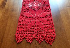 SALE Christmas table runner - crochet doily - crochet tablecloth - Christmas doily - red table decor - patterned table runner x in Crochet Table Runner, Crochet Tablecloth, Crochet Doilies, Filet Crochet, Hand Crochet, Crochet Stitches, Thanksgiving Crochet, Holiday Crochet, Doily Patterns