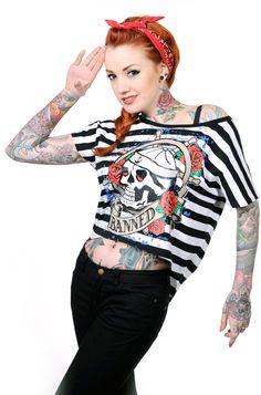 Banned Sailor Skull Women's Cropped T-Shirt