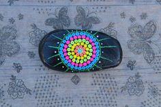 Mandala Painted Black Stone Pebbles Dot colorful by yuliart2000