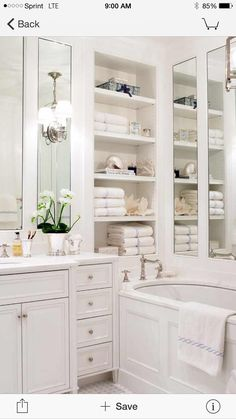 Perfect Small, White Bathroom With Mirrors