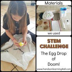 Egg-cellent Egg Experiments: Egg Drop of Doom! Hands On Learning, Home Learning, Activity Ideas, Activities For Kids, Egg Experiments, Stem Teaching, Egg Drop, Stem Challenges, Hard Boiled