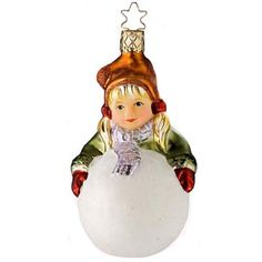 "Frosty Inspiration    1114009 - Inge-Glas of Germany *New for 2009*    Frosty Inspiration Christmas Ornament is an adorable girl wearing a cap with her arms wrapped around a huge snowball. Ornament measures approximately 4 1/2"". This heirloom Christmas ornament is from the ""Innocent Hearts"" collection from Inge and new for 2009.    Remember innocent times, pure and honest hearts....Goodness and warm loving memories of days gone by....Inge-Glas has captured those special childhood moments in our"