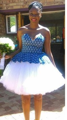 Designs by Alexis Letes'e's 389 media detail Ms African Bridesmaid Dresses, African Wedding Attire, African Print Dresses, African Print Fashion, African Attire, African Fashion Dresses, African Dress, African Prints, Setswana Traditional Dresses