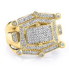 Hip Hop Diamond Ring For Men 10K White or Yellow Gold 0.52ct #HipHopRingsDiamond