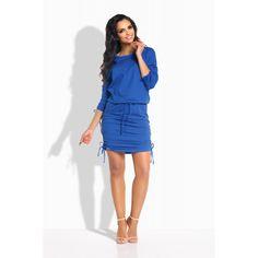 Rochie casual mini cu snururi elastice albastra