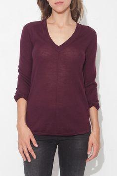Burgundy Long Sleeve Deep V Sweater by ATM | shopheist.com