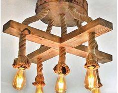 Rope Pendant Light, Pendant Light Fixtures, Pendant Lights, Wooden Chandelier, Wooden Lamp, Farmhouse Lighting, Rustic Lighting, Rope Lighting, Farmhouse Lamps