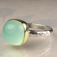 Sea Green Chalcedony Ring - 18k Gold an Sterling. $142.00, via Etsy.